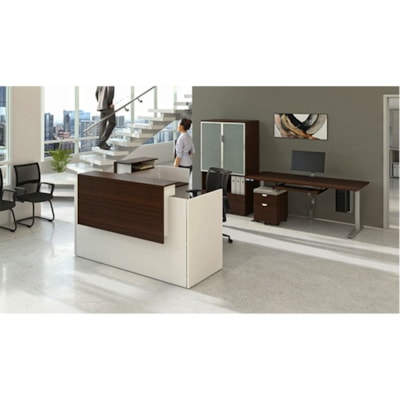"HDL Athena Sit-to-Stand Desk, Grey Dusk, 72"" x 30"" x 27 1/2""-45 1/2"" GREY DUSK/SILVER 2 LEG BASE 72'' W X 30''D X 27.5-45.5''H"