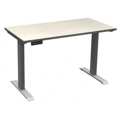 "HDL Athena Sit-to-Stand Desk, Winter Wood, 48"" x 24"" x 27 1/2""-45 1/2"" WINTER WOOD/SILVER 2 LEG BASE 48'' W X 24''D X 27.5-45.5''H"