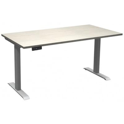 "HDL Athena Sit-to-Stand Desk, Winter Wood, 60"" x 30"" x 27 1/2""-45 1/2"" WINTER WOOD/SILVER 2 LEG BASE 60'' W X 30''D X 27.5-45.5''H"