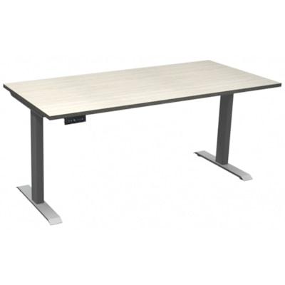 "HDL Athena Sit-to-Stand Desk, Winter Wood, 66"" x 30"" x 27 1/2""-45 1/2"" WINTER WOOD/SILVER 2 LEG BASE 66'' W X 30''D X 27.5-45.5''H"