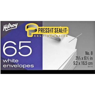 "Hilroy Press-It Seal-It Envelopes, Open Side, White, #8, 3 5/8"" x 6 1/2"", 65/BX ENVELOPPES AUTO-ADHÉSIVES BLANCHES - NO. 8 - 65/BOÎTE"