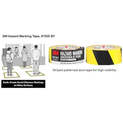 3M Hazard Marking Duct Tape, Black/Yellow, 48 mm x 22.8 m BLACK/YELLOW DUCT TAPE