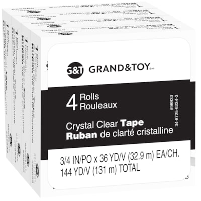 Grand & Toy Tape Refill, Crystal Clear, 18 mm x 32.9 m, 4/PK 0.75 IN X 108 FT (18 MM X 33 M REPLACEMENT FOR 99130