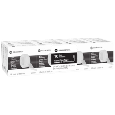 Grand & Toy Tape Refill, Crystal Clear, 18 mm x 32.9 m, Pack of 16 0.75 IN X 108 FT (18 MM X 33 M REPLACEMENT FOR 99130