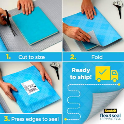 """Scotch Flex and Seal Shipping Roll, Blue, 15"""" x 10' 15 IN X 10 FT (381MMX3.0 M)"""