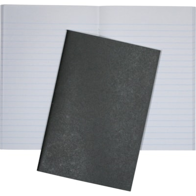 """Hilroy Stitched Memo Book, 96 Pages, Black, 6"""" x 4"""" LIGHTWEIGHT BLACK COVER RULED WHITE PAPER OPEN SIDE"""
