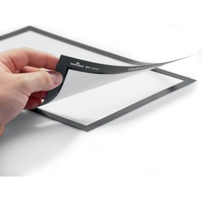 Durable Duraframe Sign Holder, Silver, Tabloid Size, 2/PK AUTOCOLLANTS  TABLOIDE  ARGENT PAQUET DE 2