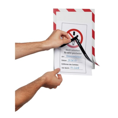 Durable Duraframe Security/Safety Sign Holder, Red/White, Letter Size, 2/PK LETTER  RED/WHITE  2 PACK