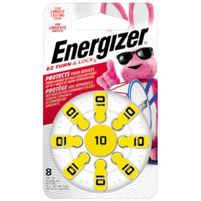 Energizer EZ TurnLock Zinc Air Hearing Aid Batteries, Yellow, Size 10, 8/PK 8/PK CUST SPECIFIC