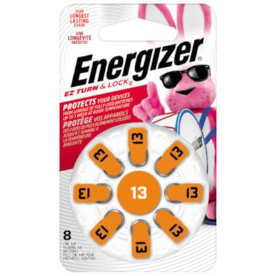 Energizer EZ TurnLock Zinc Air Hearing Aid Batteries, Orange, Size 13, 8/PK 8/PK CUST SPECIFIC