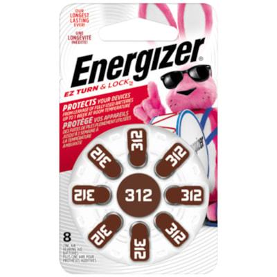 Energizer EZ TurnLock Zinc Air Hearing Aid Batteries, Size 312, 8/PK 8/PK CUST SPECIFIC