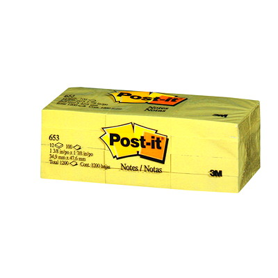 "Post-it Original Notes, Canary Yellow, 1 3/8"" x 1 7/8"", 100 Sheets/Pad, 12 Pads/PK REMOVABLE STICKS TO MOST SURFACES 100/PAD"