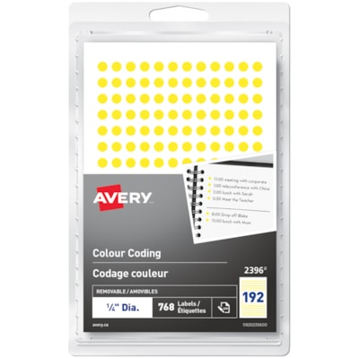 "Avery Non-Printable Removable Colour-Coding Labels, Yellow, 1/4"" Diameter, 192 Labels/Sheet, 4 Sheets/PK 1/4"" ROUND YELLOW"