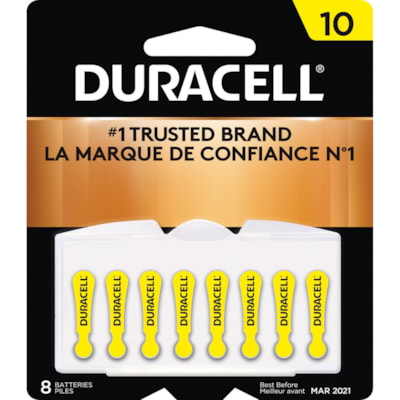 Duracell Hearing Aid Batteries, Yellow, Size 10, 8/PK SIZE 10  1/4V 8/PACK CUST SPECIFIC