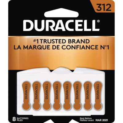 Duracell Hearing Aid Batteries, Orange, Size 312, 8/PK SIZE 312  1/4V 8/PACK CUST SPECIFIC