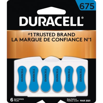 Duracell Hearing Aid Batteries, Blue, Size 675, 6/PK SIZE 675  1/4V 6/PACK CUST SPECIFIC