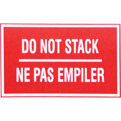 """Edge Self-Adhesive """"Do Not Stack"""" Shipping Label, Bilingual, Red/White, 3"""" x 5"""", Roll of 500 3"""" X 5"""""""