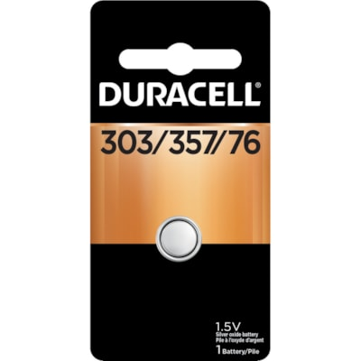 "Duracell 303/357 Silver Oxide Watch Battery 0.475"" DIAMETER 0.236"" H 1/PK CUST SPECIFIC"