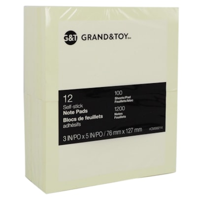 """Grand & Toy Self-Stick Notes, Yellow, Unlined, 3"""" x 5"""", 100 Sheets/Pad, 12/PK REPLACED 99141"""