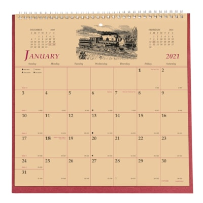 """Brownline 12-Month 2-Sided Monthly History Wall Calendar, 11"""" x 11"""", January 2021 - December 2021, Bilingual  ENGLISH/FRENCH MONTH/PAGE 50% PCW"""