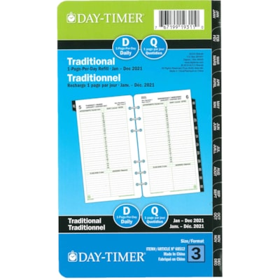 Day-Timer 12-Month Portable-Size Loose-Leaf Planner Refill 1PPD 3.75X6.75 BILINGUAL 30% PCW
