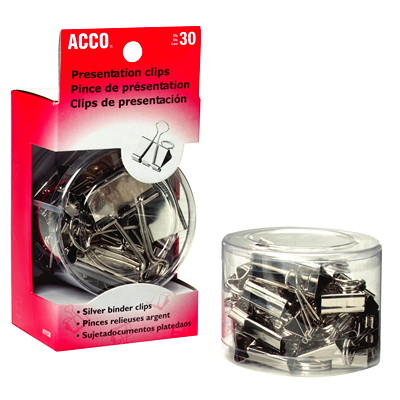 Acco Presentation Binder Clips, Silver Finish, Assorted Sizes, 30/PK 12 MINI 12 SMALL 6 MEDIUM SILVER FINISH REUSABLE TUB