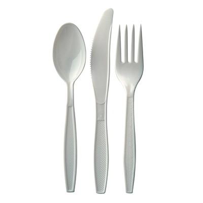 Café Express Heavyweight Plastic Utensils/Cutlery, Forks, White, 100/PK CAFÉ EXPRESS FLEXIBLE