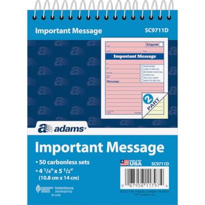 Adams Spiral-bound Phone Message Booklet