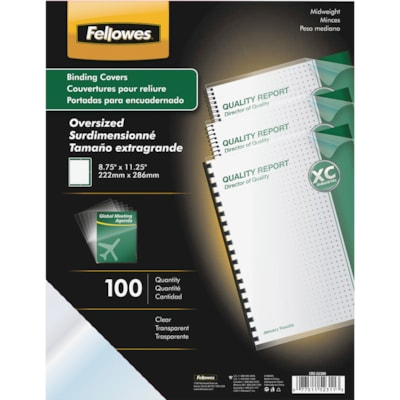 Fellowes Crystals Clear Oversize PVC Covers