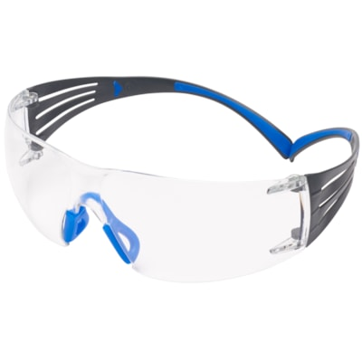 3M SecureFit Protective Eyewear 400 Series, Clear Anti-Scratch and Anti-Fog Lens, Frameless with Black Temple and Blue, 20/BX ANTI-FOG CUST SPEC