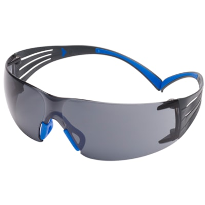 3M SecureFit Protective Eyewear 400 Series, Grey Anti-Scratch and Anti-Fog Lens, Frameless with Black Temple and Blue, 20/BX ANTI-FOG CUST SPEC