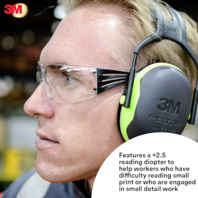 3M SecureFit Protective Reader Eyewear 400 Series, +2.5 Diopter, Clear Anti-Fog Lens, Frameless with Black Temple and Yellow, 20/BX CLEAR LENS CUST SPEC