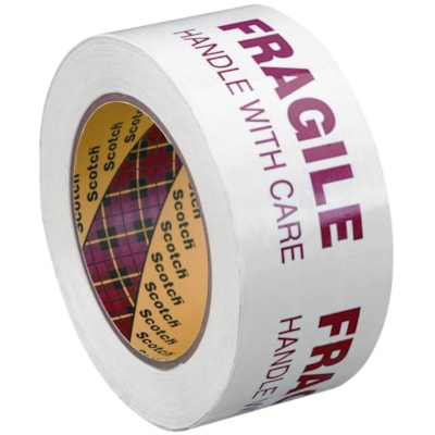 Scotch 3772 Security Message Box Sealing Tape, Pre-Printed with Fragile - Handle with Care, White with Red Type, 48 mm x 100 m 48MM X 100M RED ON WHITE