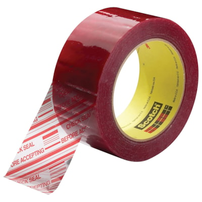 Scotch 3779 Security Message Box Sealing Tape, Pre-Printed with Check Seal Before Accepting, Clear with Red Type, 48 mm x 100 m 48MM X 100M RED ON CLEAR