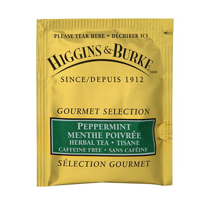 Higgins & Burke Gourmet Selection Herbal Tea, Peppermint, 20/BX WRAPPED EACH TEA BAG TAGGED