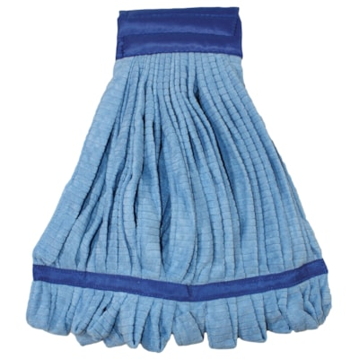 Globe Commercial Products Microfibre Tube Mop Head, Blue, Large BLUE WIDE BAND
