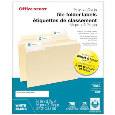 "Office Depot® Permanent Inkjet/Laser File Folder Labels, White, 2/3"" x 3 7/16"", Pack of 750"