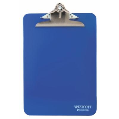 Planchette en plastique Westcott avec protection antimicrobienne, bleu, format lettre