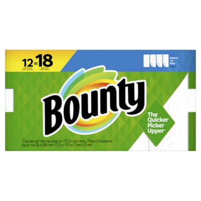 Bounty 2-Ply Select-A-Size Paper Towels 12=18, White, 74 Sheets/RL, 12/PK SELECT A SIZE  12PK