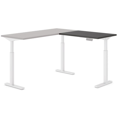 """Offices to Go Ionic Table Top Return for Electric Height-Adjustable Table Desk, Dark Espresso, 35"""" x 23"""" x 1"""" DARK ESPRESSO FINISH 3 LEG HAT"""