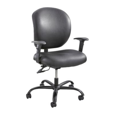 Safco Alday Intensive-Use Ergonomic Task Chair, Black Vinyl Seat and Back POSTURE LOCK  500LB WT CAP BLACK VINYL