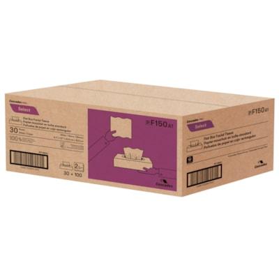 "Cascades PRO Select 2-Ply Flat Box Facial Tissues, White, 100 Sheets/Box, 30 Boxes/CS   100 SHEETS  2PLY  FLAT BOX 8.1""X7.3""  NOT CERTIFIED"