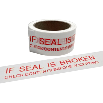 "Edge Security Message Box Sealing Tape, Pre-Printed with ""If Seal is Broken"", White with Red Type, 48 mm x 66 m 48MM X66M WHITE/RED"