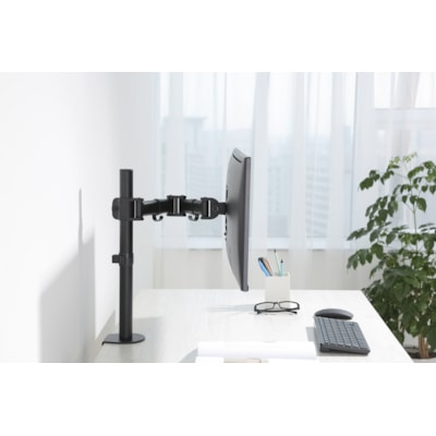 Rocelco Desk Mount Single Monitor Arm, Black Arm