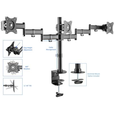Rocelco Desk Mount Triple-Monitor Arm, Black Arm