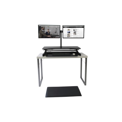 """Rocelco 37 1/2"""" Deluxe Desk Riser with Dual-Monitor Mount and Anti-Fatigue Mat Bundle, Black /Monitor Mount-MAFM/Anti Fatig ue Mat"""