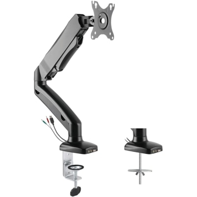 Bras pour écran simple Rocelco avec assistance de mouvement pneumatique, noir le Rocelco/Assistance de mouve ment pneumatique