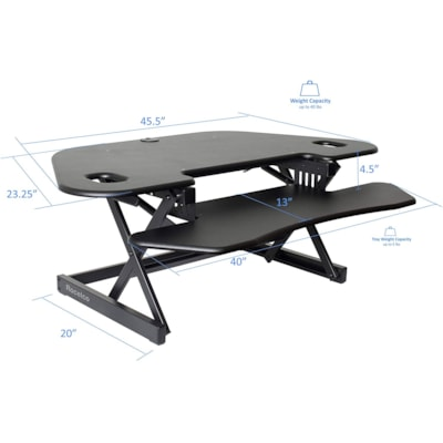 "Rocelco 46"" Sit-to-Stand Corner Desk Riser, Black table Desk Riser"