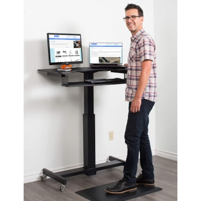 """Rocelco 40"""" Wide Mobile Sit-to-Stand Desk, Black 0""""W"""