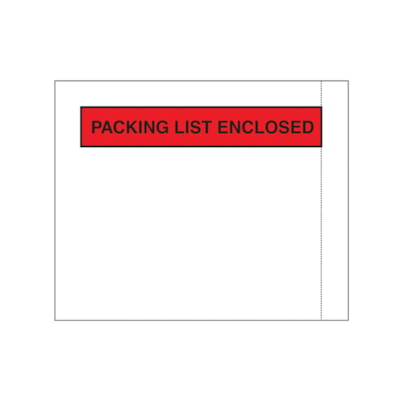 """Edge Packing List Envelopes, Clear, 4 1/2"""" x 5 1/2"""", Carton of 1,000 1000/CT"""